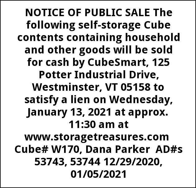 Notice Of Public Sale