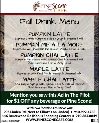 Fall Drink Menu