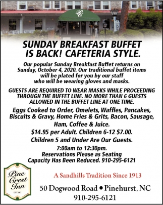 Sunday Breakfast Buffet Is Back!