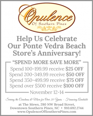 Help Us Celebrate Our Ponte Vedra Beach Store's Anniversary!