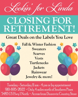 Closing For Retirement!