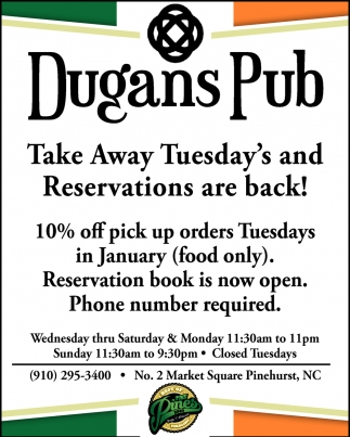 Take Away Tuesday's And Reservations Are Back!