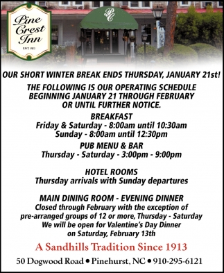 Our Short Winter Break Ends Thursday, January 21st!