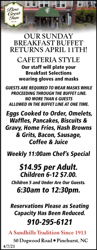 Our Sunday Breakfast Buffet Returns April 11th!