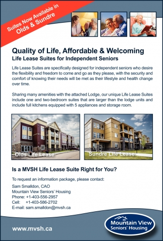 Suites Now Available in Olds & Sundre