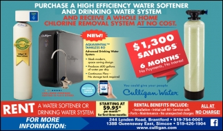 Purchase a High Efficiency Water Softener and Drinking Water System