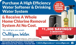 Purchase a High Efficiency Water Softener & Drinking Water System