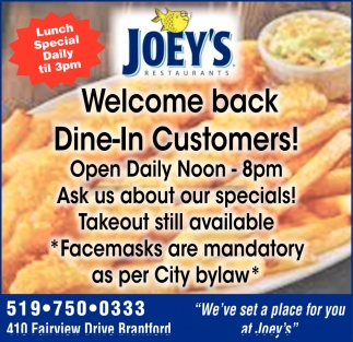 Welcome Back Dine-In Customers!