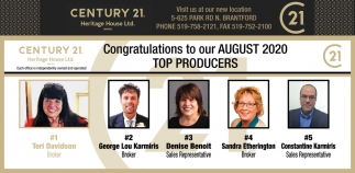 Congratulations to Our August 2020 Top Producers