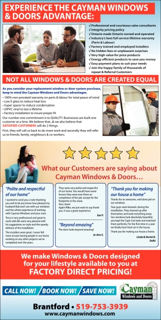Experience the Cayman Windows & Doors Advantage