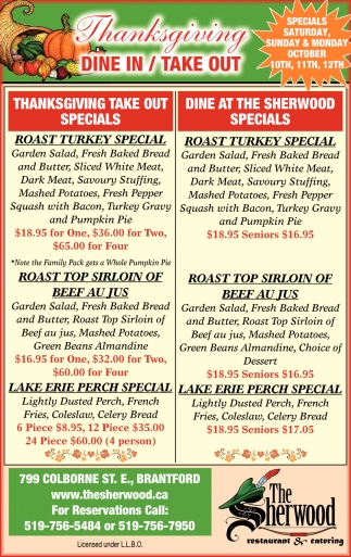 Thanksgiving Take Out Specials