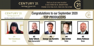 Congratulations to Our September 2020 Top Producers