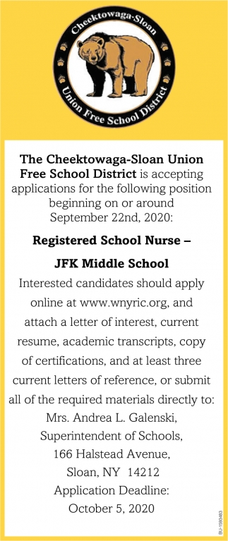 Registered School Nurse, Cheektowaga-Sloan Union Free School District, Buffalo, NY