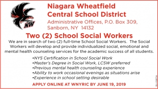 Two School Social Workers Needed