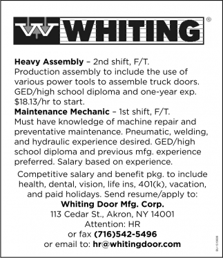 Heavy Assembly & Maintenance Mechanic