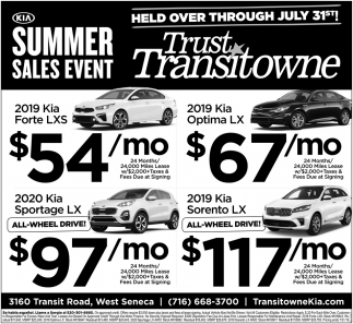 KIA Summer Sales Event