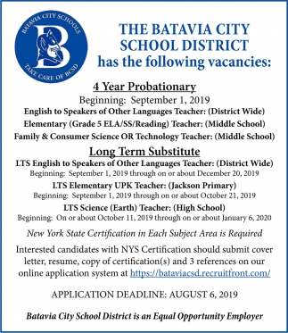 4 Year Probationary Special Education Teacher & Long Term Substitute