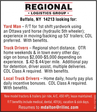 Yard Man & Truck Drivers Needed