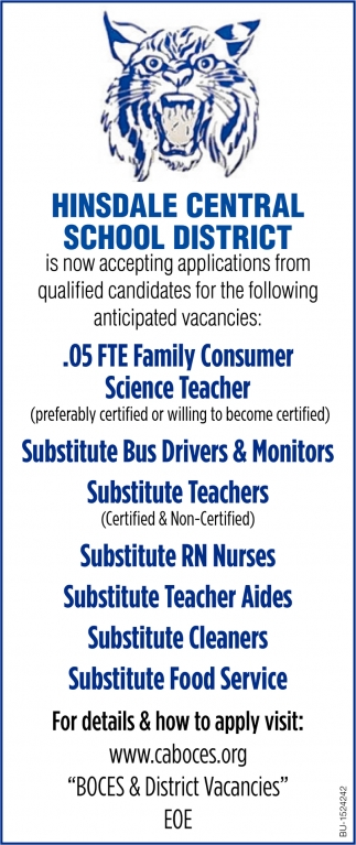 Now accepting Applications from Qualified Candidates for the Following Anticipated Vacancies