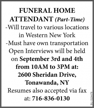 Funeral Home Attendant