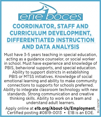 Coordinator, Staff and Curriculum Development, Differentiated Instruction and Data Analysis