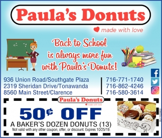 Back to School is Always more Fun with Paula's Donuts!
