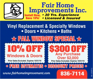 Fall Window Special