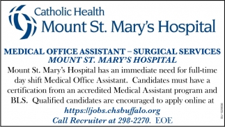 Medical Office Assistant - Surgical Services