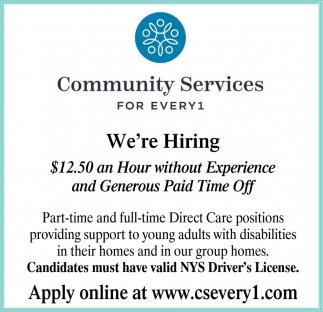 Part-Time & Full-Time Direct Care Positions