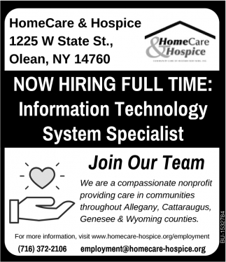 Now Hiring Full Time: Information TEchnology System Specialist