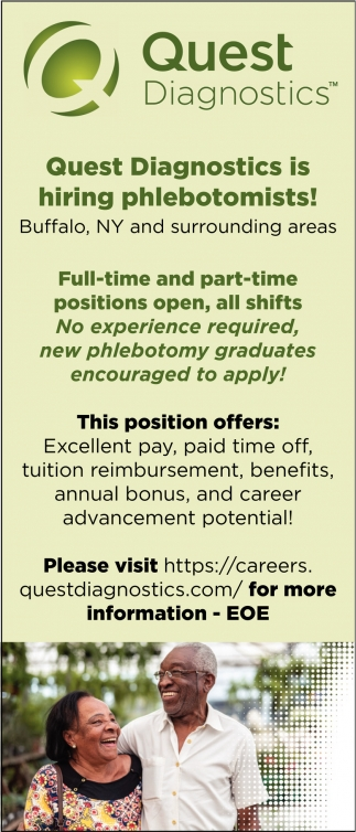 Quest Diagnostics is Hiring Phlebotomists!