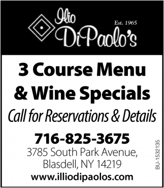 3 Course Menu & Wine Specials