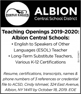 Teaching Openings 2019-2020