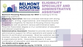 Eligibility Specialist & Administrative Assistant