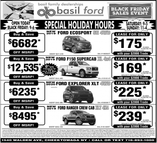 Special Holiday Hours