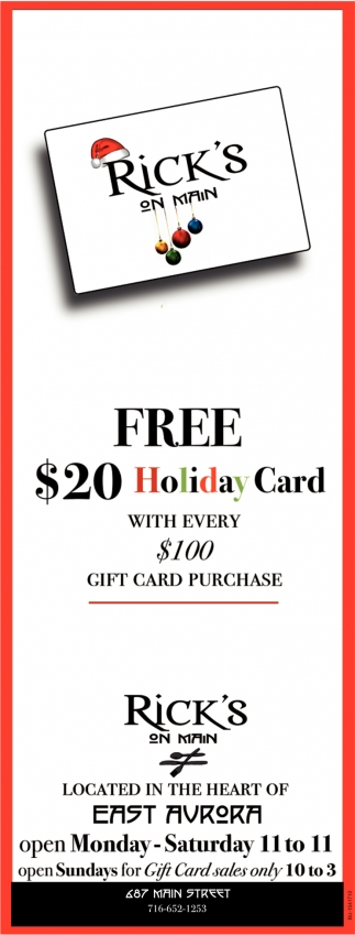 FREE $20 Holiday Card with Every $100 Gift Card Purchase