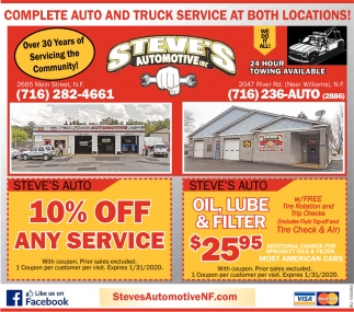 Complete Auto and Truck Service at Both Locations!