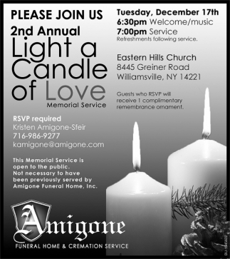 Please Join Us 2nd Annual Light a Candle of Love
