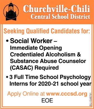 Social Worker Needed & 3 Full Time School Psychology Interns