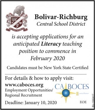 Anticipated Literacy Teaching Position