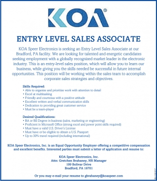 Entry Level Sales Associate