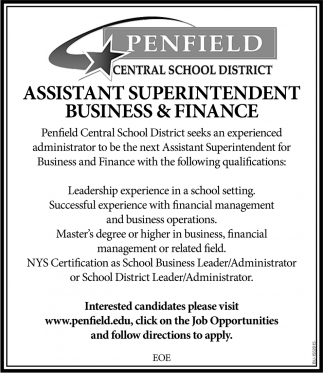Assistant Superintendent Business & Finance