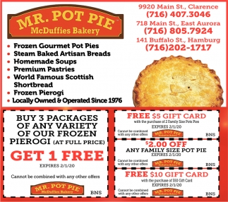 Frozen Gourmet Pot Pies