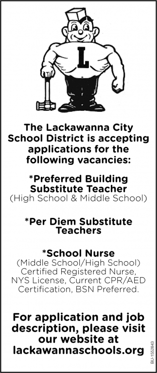 Accepting Applications for the Following Vacancies