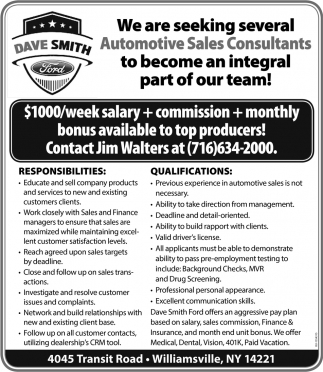 We are Seeking Several Automotive Sales Consultant