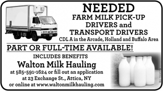 Farm Milk Pick-up Drivers and Transport Drivers