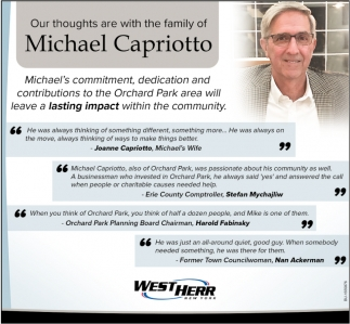 Our Thoughts are with the Family of Michael Capriotto