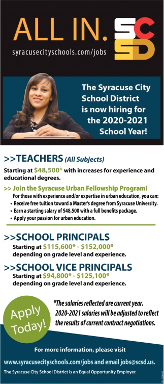 Syracuse City School District is Now Hiring for the 2020-2021 School Year!