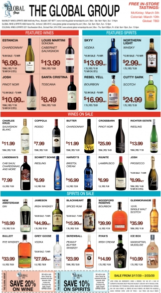 Featured Wines, Featured Spirits, Wines on Sale, Spirits on Sale