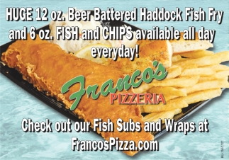 Check out our Fish Subs and Wraps at FrancosPizza.com